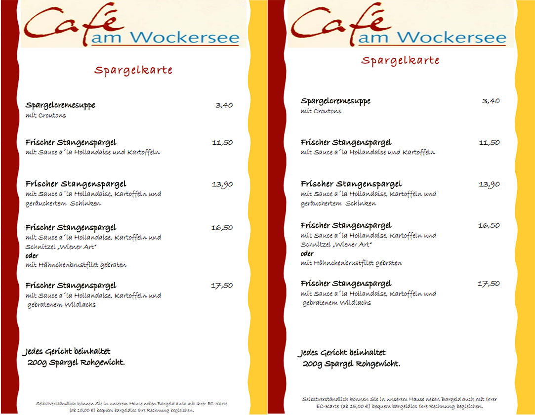 Spargelkarte 2018 Cafe am Wockersee